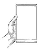 Smartphone hold male hand. Vintage drawn  engraving Stock Photos
