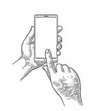 Smartphone hold male hand. Vintage engraving Stock Photo