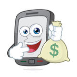 Smartphone holding a money bag. Clipart picture of a smartphone cartoon character holding a money bag Royalty Free Stock Image