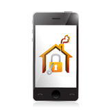 Smartphone and home security concept illustration. Design over white Stock Photo