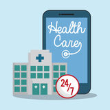 Smartphone hospital health care 24-7. Illustration eps 10 Royalty Free Stock Photo