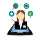 Smartphone and hotel digital apps design stock illustration