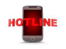 Smartphone hotline on white background Royalty Free Stock Images