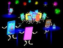 Smartphone i en nattklubb Royaltyfri Foto