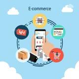 Smartphone i handen, e-kommers infographic beståndsdel på himmelbakgrund, vektorillustration stock illustrationer