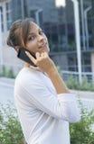 Smartphone i handling royaltyfri fotografi