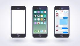 Smartphone i svart stilfärg med den tomma pekskärmen royaltyfri illustrationer