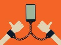 Smartphone i telefonu komórkowego interneta technologii nałogu pojęcie Ogólnospołeczni środki i sieć nałóg ilustracja wektor