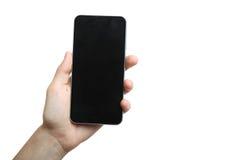 Smartphone i vänstersidahanden Royaltyfri Fotografi