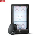 Smartphone with ice hockey puck and field on the. Screen. Sports theme and applications. Vector illustration Isolated on white background Stock Photos