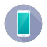Smartphone icon in circle. Stock Photo