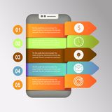 Smartphone icon. 3d infographic design template and marketing icons. Smartphone icon. 3d infographic design template and marketing icons on grey background Stock Image