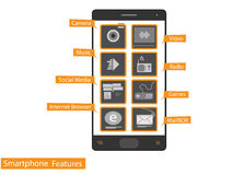 Smartphone icon features app vector Stock Images