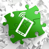 Smartphone Icon on Green Puzzle. Royalty Free Stock Photography