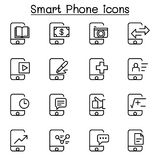 Smartphone icon set in thin line style stock illustration