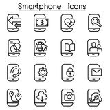 Smartphone icon set in thin line style. Vector illustration graphic design Stock Photography