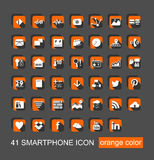 41 Smartphone Icon Set Vector. 41 Smartphone Icon Set with orange color Vector Royalty Free Stock Photo