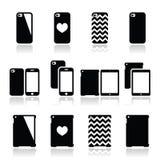 Smartphone, iconos de la caja de la tableta fijados Fotografía de archivo libre de regalías