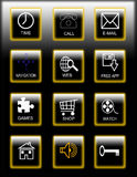 Smartphone icons. Set of 3d smartphone icons on a black background ideal for website, application or presentation Stock Photo