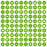 100 smartphone icons hexagon green. 100 smartphone icons set in green hexagon isolated vector illustration Royalty Free Illustration
