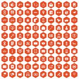 100 smartphone icons hexagon orange Royalty Free Stock Photo