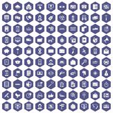 100 smartphone icons hexagon purple. 100 smartphone icons set in purple hexagon isolated vector illustration Stock Image