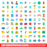 100 smartphone icons set, cartoon style Royalty Free Stock Photography