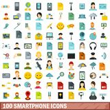 100 smartphone icons set, flat style. 100 smartphone icons set in flat style for any design vector illustration Stock Illustration