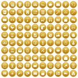100 smartphone icons set gold. 100 smartphone icons set in gold circle isolated on white vector illustration Royalty Free Stock Images