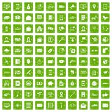 100 smartphone icons set grunge green. 100 smartphone icons set in grunge style green color isolated on white background vector illustration Royalty Free Stock Images