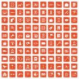 100 smartphone icons set grunge orange. 100 smartphone icons set in grunge style orange color isolated on white background vector illustration royalty free illustration