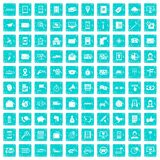 100 smartphone icons set grunge blue Royalty Free Stock Image