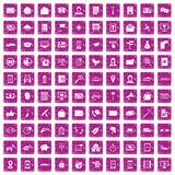 100 smartphone icons set grunge pink. 100 smartphone icons set in grunge style pink color isolated on white background vector illustration Stock Images