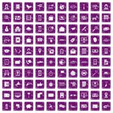 100 smartphone icons set grunge purple. 100 smartphone icons set in grunge style purple color isolated on white background vector illustration stock illustration