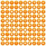 100 smartphone icons set orange. 100 smartphone icons set in orange circle isolated on white vector illustration vector illustration