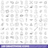 100 smartphone icons set, outline style Royalty Free Stock Photo