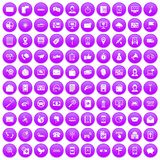 100 smartphone icons set purple. 100 smartphone icons set in purple circle isolated on white vector illustration royalty free illustration