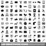 100 smartphone icons set, simple style. 100 smartphone icons set in simple style for any design vector illustration Royalty Free Stock Photo