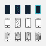 Smartphone icons set vector illustration. With shadow. Linear flat style Royalty Free Stock Photo