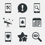 Smartphone icons. Shield protection, repair, bug. Royalty Free Stock Photography
