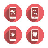 Smartphone icons. Shield protection, repair, bug Royalty Free Stock Images