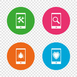 Smartphone icons. Shield protection, repair, bug. Royalty Free Stock Image