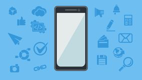 Smartphone with icons. Vector illustration. Royalty Free Stock Photography