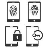 Smartphone Identification Vector Flat Icon Set Stock Image
