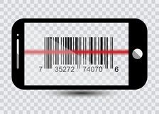 Smartphone ikona z próbka Prętowymi kodami Dla Skanować ikonę z czerwonym laserem, Wektorowa ilustracja ilustracja wektor