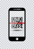 Smartphone ikona z próbka Prętowymi kodami Dla Skanować ikonę z czerwonym laserem, Wektorowa ilustracja odizolowywająca ilustracji