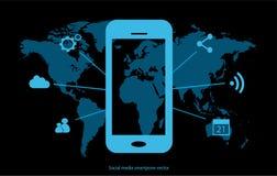 Smartphone-Ikone mit Social Media Stockbilder