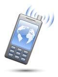 Smartphone illustrato su priorità bassa bianca Fotografia Stock