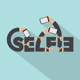 Smartphone im Hand-Selfie-Typografie-Design Lizenzfreie Stockfotografie