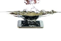 Free Smartphone In The Water And Splash On A White Background. Stock Images - 113078344